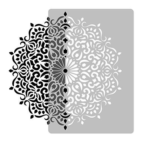 Wiederverwendbare Wandschablone aus Kunststoff // GEOMETRISCH - MANDALA #3 - BLUME // Muster Schablone Vorlage (Durchmesser 89 cm)