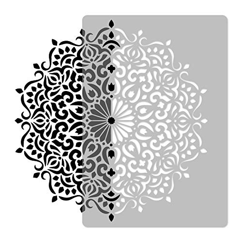 Plantilla de pared reutilizable de plástico, diámetro de 59 cm, geométrica, diseño de flores