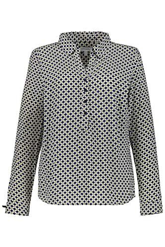 GINA LAURA Damen Bluse, grafisches Muster, Zierschleifen Offwhite 48 726467 21-48