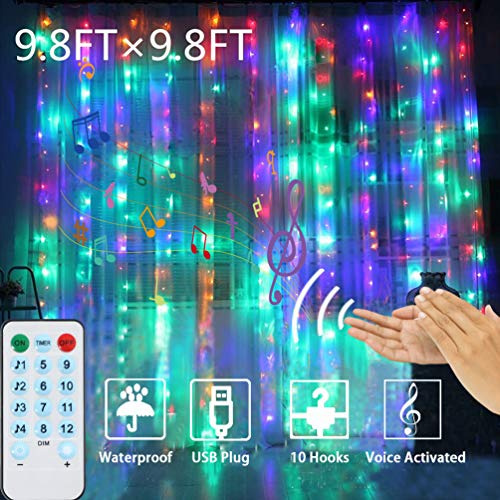Curtain Lights Voice Activated, LEDGLE Rainbow Twinkle String Lights 300 LED, Fairy Window Decorative Dimmable Christmas Lights, USB Powered 4 Sound Control & 8 Lighting Modes IP44 (Multi Color)