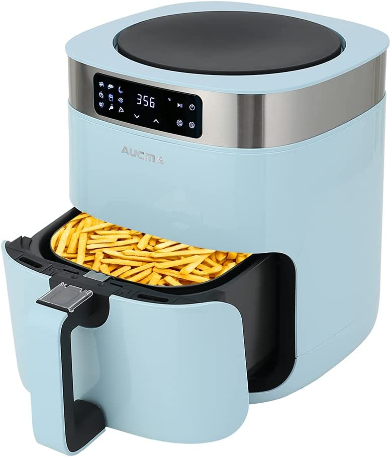 Aucma Air Fryer, 5.8QT Hot Air Fryers Oven, XL Electric Air Fryers Oven Cooker with 9 Cooking Preset, Digital Touch Screen Preheat & Nonstick Basket (Blue)