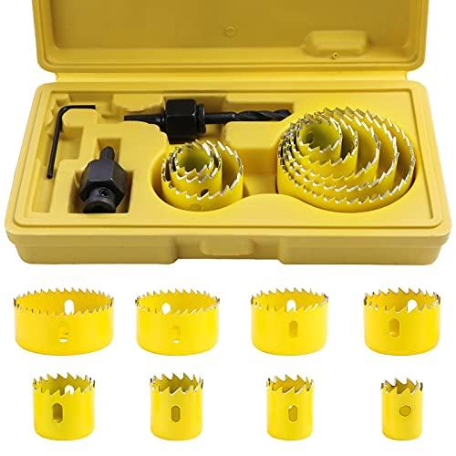 SHEENO 11 Pezzi Sega a Tazza,19-64 mm Fresa a Tazza,in Acciaio al Carbonio per Trapano, per Legno, Cartongesso