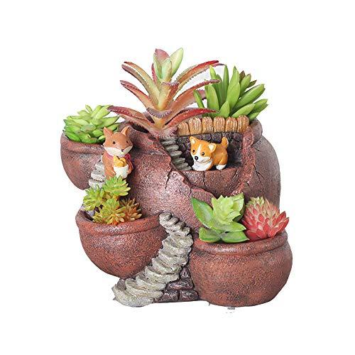 Xueliee Pot de fleurs créatif pour plantes succulentes - Décoré avec mini jardin féérique à suspendre - Décoration de vacances et cadeau