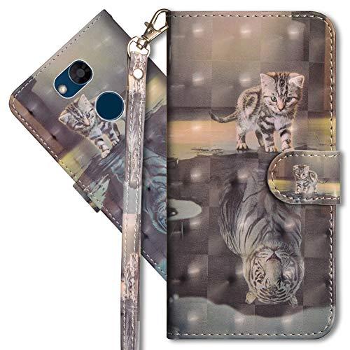 MRSTER LG Xpower 3 Handytasche, Leder Schutzhülle Brieftasche Hülle Flip Hülle 3D Muster Cover mit Kartenfach Magnet Tasche Handyhüllen für LG X Power 3. YX 3D - Cat Tiger