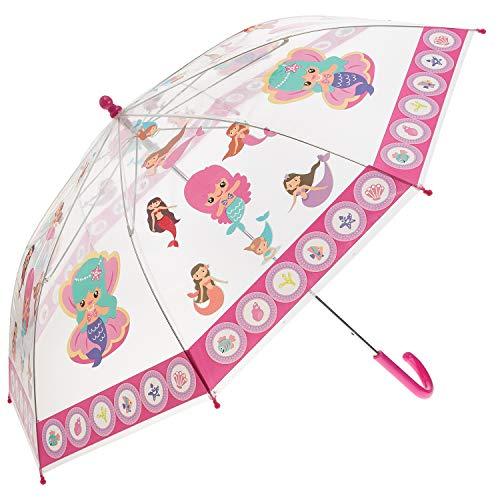 Idena 50048 - Parapluie enfant pour fille, avec motif de sirène magique sur plastique transparent, diamètre environ 83 cm, longueur environ 66 cm