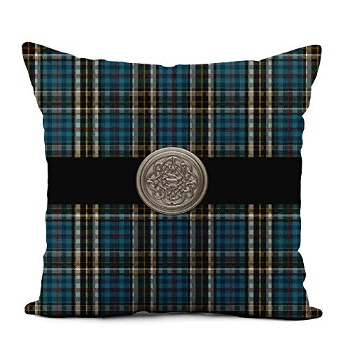 Topyee Throw Pillow Cover 16x16 Inch Blue Knotwork Thomson Tartan Plaid Celtic Knot Scottish Clan Home Decor Pillowcases Square Pillow Cases Cushion Covers for Sofa Couch Bed