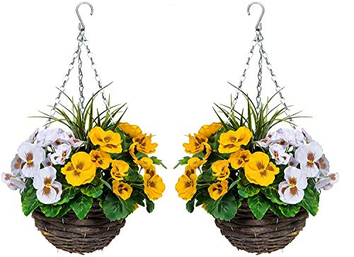 2 x Artificial Hanging Baskets with Yellow & White Flowers and Decorative Grasses (Set of 2)