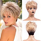Short pixie cut wig layered curly fully hair with bangs blonde mix brown middle age women wig mommy cute synthetic wigs for daily party use