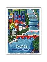 パリ、フランス - エアフランス - セーヌ川 - ビンテージな航空会社のポスター によって作成された ジャン・ヴェルニエ c.1963 - アートポスター - 23cm x 31cm