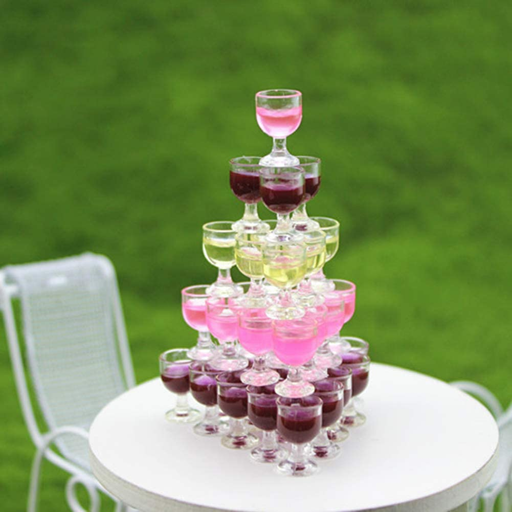 Set of 10 Pieces Miniature Champagne Cup Wine Glasses Dollhouse Foods Groceries
