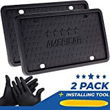 AMERICAR Premium License Plate Frame 2 Pack Kit – Black Silicone Car License Plate Holder/Frame – Rattle Proof, Scratch Proof, Rust Proof, Street Legal – Mounting Tool Included
