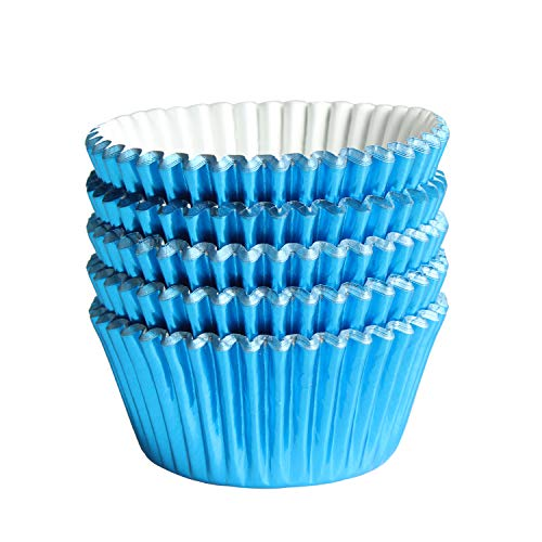 Blue-Foil Cupcake-Liners Paper-Baking-Cupcake,for different Parties, Weddings,Standard Sized(pack of 100) …