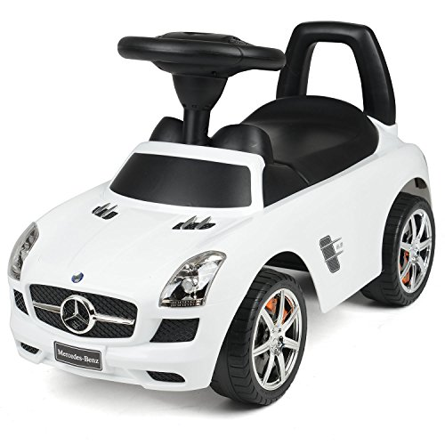 Licensed Mercedes Benz Ride On Car, Kids Foot To Floor Merc, Toddler Push Along Toy, 3 Sound Effects, Under Seat Storage