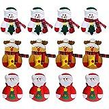 Gobesty Bolsa de Cubiertos navideños, 12 PCS Mini Soporte de vajilla navideño para decoración navideña Cubiertos para Bolsillos Set para el Restaurante del hogar Comedor (3 Estilos Diferentes)