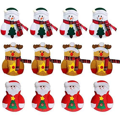 Gobesty Bolsa de Cubiertos navideños, 12 PCS Mini Soporte de vajilla navideño...