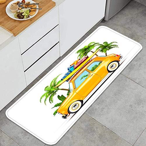 PUIO Juegos de alfombras de Cocina Multiusos,Maletas de Tabla de Surf de Coche Retro Divertido Inusual,Alfombrillas cómodas para Uso en el Piso de Cocina súper absorbentes y Antideslizantes