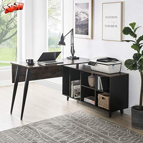 DANGRUUT Best Industrial Style L-Shaped Desk Corner Desk, Large Executive Office Desk Computer Desk Workstation with Storage Shelve, Home Office Computer Table with Cabinet, Wooden Surface, Steel Legs