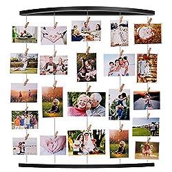 EASTERNSTAR Family Bilderrahmen Collagen Fotorahmen Collage aus Holzbilderrahmen mit 32 Klammern Holzklammern für Foto Bilder Drucke Kunstwerke Karten Memo (Black)