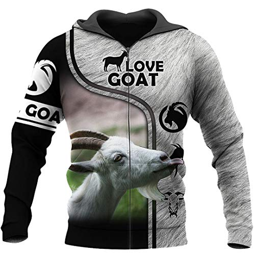 Beautiful Goat 3D Printed Sweatshirt Hombres Hoodies Unisex Fun Casual Street Pullover Sky Blue XXL