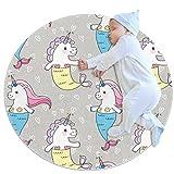 AIBILI Alfombra redonda, lavable a máquina, para interiores y exteriores, para dormitorio, sala de estar, sala de juegos, diseño de unicornio de sirena