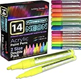 14 Pack Neon Fluorescent Acrylic Paint Pens, Double Pack of Both Extra Fine and Medium Tip Paint...