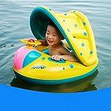 Xyl Swimmingpool mit Liegesitz Frosch Spielzeug Baby-Pool mit Ring im Alter von 6 bis 36 Monaten aufblasbaren Baby-Schwimmen-Ringbabyflasche mit dem Inflator Floating