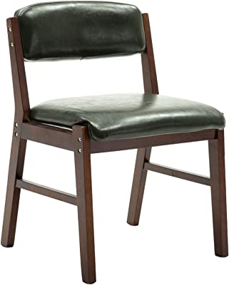 Modern Dining Room Chair,Leisure Living Room Corner Chairs PU Leather Solid Wood Chair Easy to Clean Office Chair (Color : Black, Size : Walnut Color)