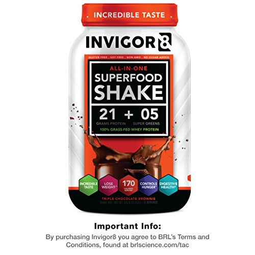 INVIGOR8 Superfood Shake Gluten-Free and Non GMO Meal Replacement Grass-Fed Whey Protein Shake with Probiotics and Omega 3 (645g) … (Chocolate Brownie)