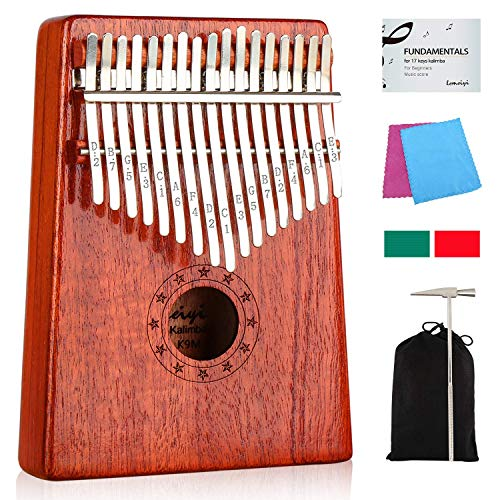Kalimba 17 Keys Thumb Piano with Study Instruction and Tune Hammer, Portable Mbira Sanza African Wood Finger Piano, Gift for Kids Adult Beginners Professional