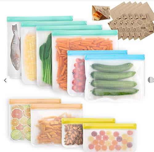 VECELA Gefrierbeutel Wiederverwendbar ,PEVA Gefrierbeutel Set Lebensmittel Beutel Aufbewahrung Beutel für Milch, Snacks, Fleisch Enthält 10 Kraftpapiertüten