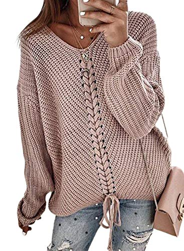 FOBEXISS Suéter de punto sólido de punto para mujer con cuello redondo, manga larga con cordones