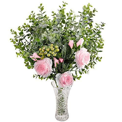 Love Bloom Fiori Rose Finti e Foglie di Eucalipto con Vaso en Vetri - Rosa Rose in Seta con Foglie di Eucalipto e Bacche Rami per Bouquet da Sposa, Centrotavola, Decorazioni Floreali per Casa
