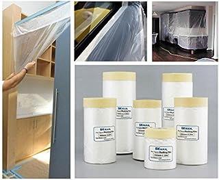 SKMAX Pre-Taped Masking Film, Painter`s Plastic Covering (5 ft X 82 ft) 6-Pack