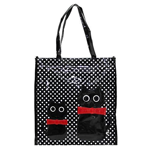 Or&My Shopper Borsa Donna in Plastica Busta Spesa Casual Universale Fantasia Gattini (Nero, Media)