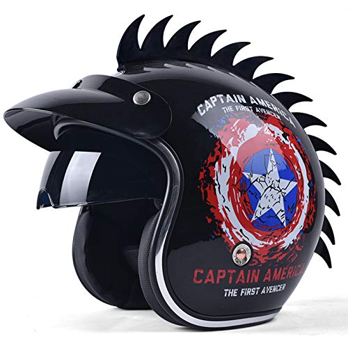 GAOZHE Adultos Retro Casco Moto,Vintage Classic Abierto Cascos Half-Helmet,con Visera,Dot Approved,Profesional Moto Jet Cascos,para Mujer y Hombre Street Bike Cruiser Chopper Scooter
