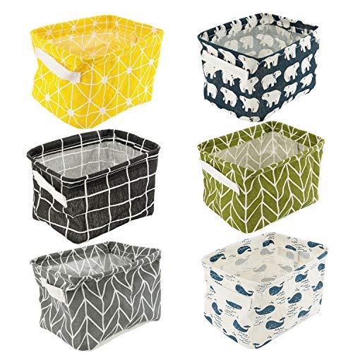 Leinen Speicher Organizer Sets, Kleine Baby Stoff Aufbewahrungsbox Organizer mit 2 Griffen auf beiden Seiten 20.5x17x15cm -Sets von 6