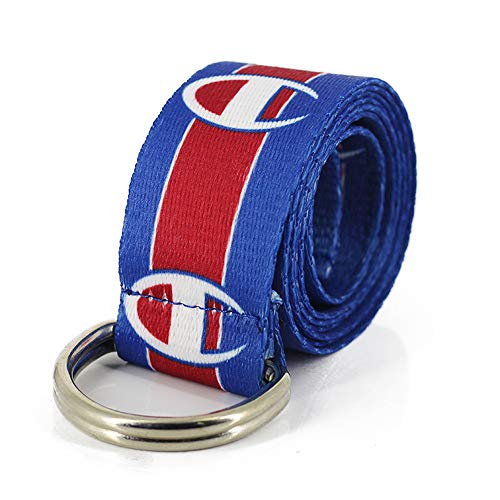 Champion Canvas Web Belt for Men with Silver Double D-ring Buckle Casual Belt (Blue, 51inch/130cm)