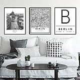 Póster de mapa de la ciudad de BERLÍN en blanco y negro, impresión en lienzo, carteles de viaje de Alemania, cuadros artísticos de pared, pintura para sala de estar, decoración del hogar, 50x70 cm