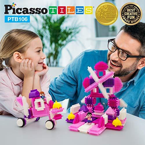 PicassoTiles PTB106 106pcs Bristle Lock Building Blocks Tiles Pink Castle Theme Set w/ Human Figures Learning Playset STEM Toy Set Educational Kit Child Brain Development Preschool Kindergarten Toy