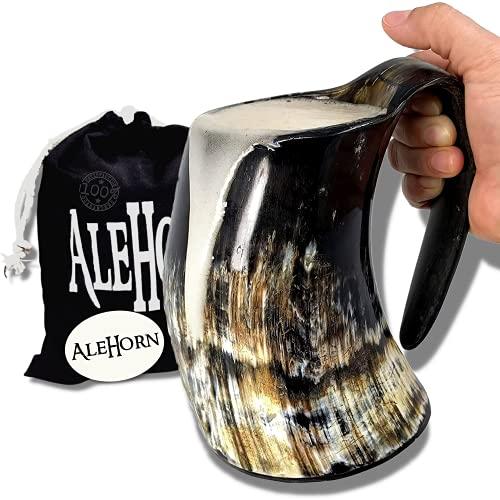 AleHorn 600 ml (20 onzas) Artesanal taza grande adicional de Viking potable Cuerno Tankard
