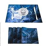 FloraGrantnan - Juego de 6 manteles individuales lavables resistentes al calor, color azul glaciar cueva en Islandia, antideslizantes, absorbentes