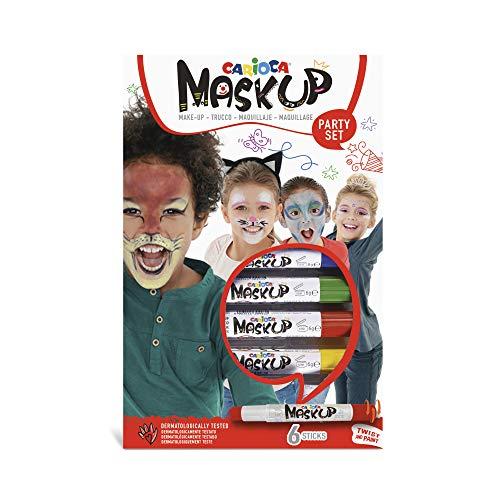 Carioca Set Mask Up Party | Kit Truccabimbi, Set Trucchi per Bambine e Bambini, Trucchi per la Pelle in Stick a Base Acqua, Colori Assortiti e Tutorial con 2 Fantasie, 6 Pezzi
