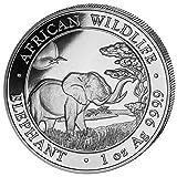 Silbermünze Somalia Elefant - African Wildlife - 1 Unze Silber 999.9 - einzeln in Münzkapsel verpackt (1 Stück 2019) -