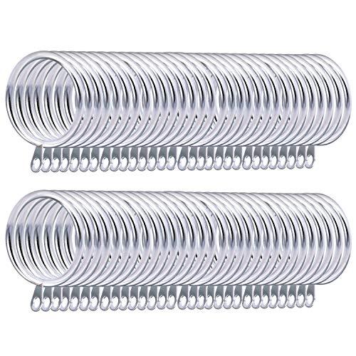 Coolty 60 Stück Metall Vorhangringe Hängende Ringe für Gardinenstangen zum Aufhängen von Vorhängen, 38 mm Innendurchmesser (Silber)