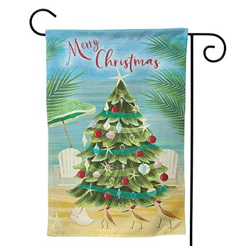 Tropical Palm Leaves with Christmas Tree Garden Flags Merry Christmas House Flags Outside Decoration Terrace 12.5x18 inches