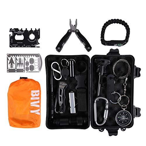 Qdreclod Survival Kit 20 in 1 mit Notfall Schlafsack, Signalspiegel, Angelhaken-Karte, Multifunktionszange, Feuerstein, Überlebensarmband, Notfall Survival Gear für Camping, Outdoor-Abenteuer