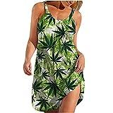 AMhomely Vestidos de mujer Venta Promoción Liquidación Señoras Moda Sexy Sin Mangas Lindo Cartoon Print Hem Loose Beach Dress UK Size Party Elegante Vestido