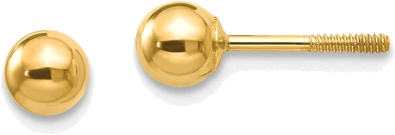 Madi K Polished 4mm Ball Screwback Earrings in 14K Yellow Gold