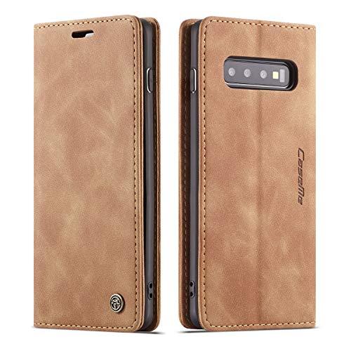QLTYPRI Hülle für Samsung Galaxy S10 Plus, Vintage Dünne Handyhülle mit Kartenfach Geld Slot Ständer PU Ledertasche TPU Bumper Flip Schutzhülle Kompatibel mit Samsung Galaxy S10 Plus - Braun
