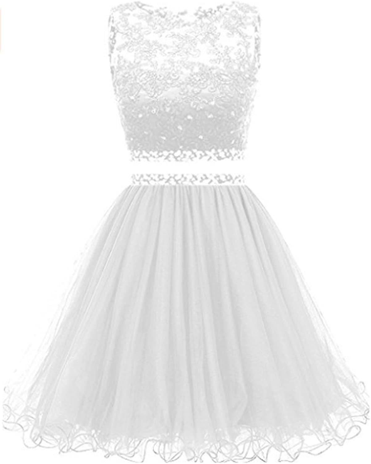 FWVR Womens Lace 2 Piece Prom Dresses Short For Juniors Beaded Homecoming Party